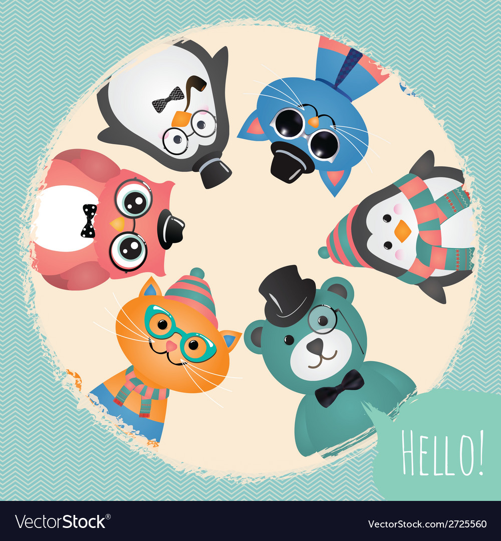 Hipster fashion retro animals and pets background vector | Price: 1 Credit (USD $1)