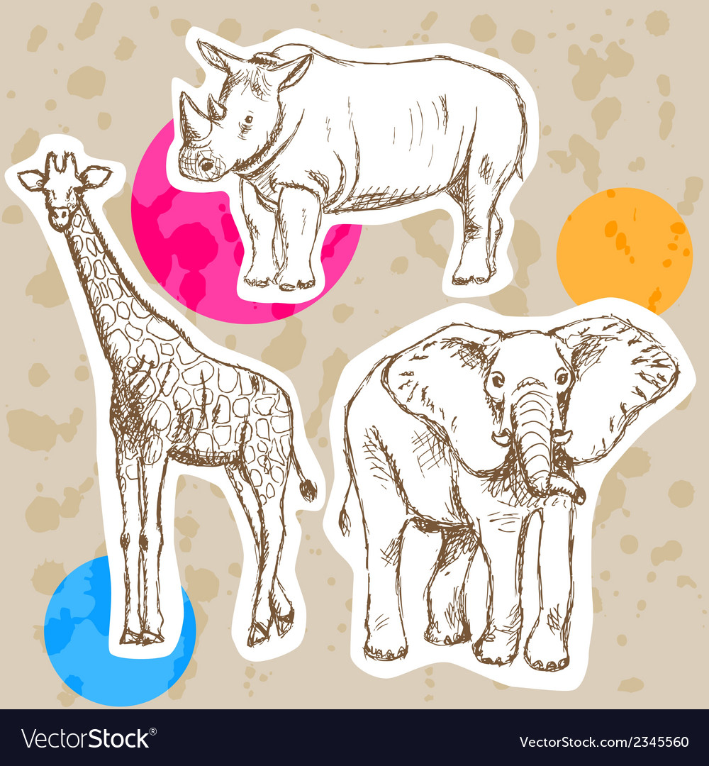 Rhino elephant geraffe vector | Price: 1 Credit (USD $1)