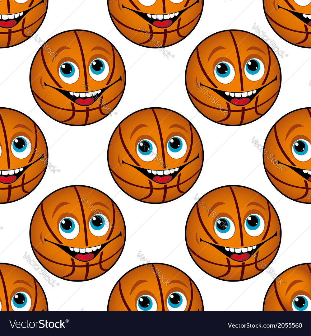 Seamless pattern of a happy cartoon basketball vector | Price: 1 Credit (USD $1)