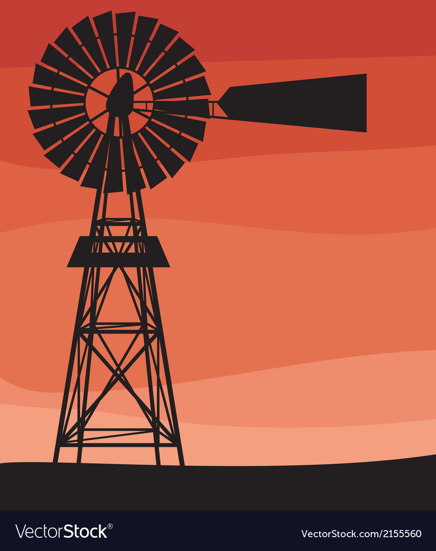 Silhouette of a water pumping windmill vector | Price: 1 Credit (USD $1)