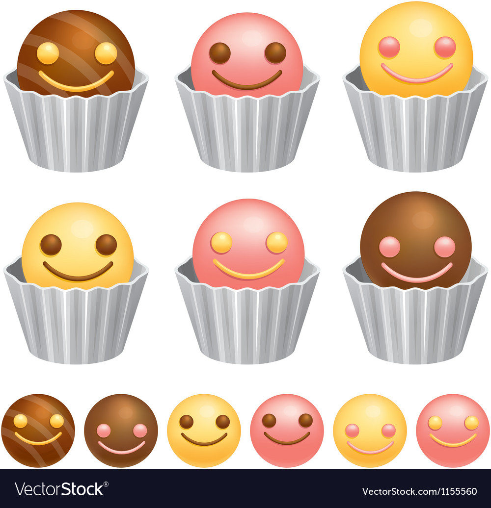 Smile chocolate ball valentine icon design series vector | Price: 1 Credit (USD $1)
