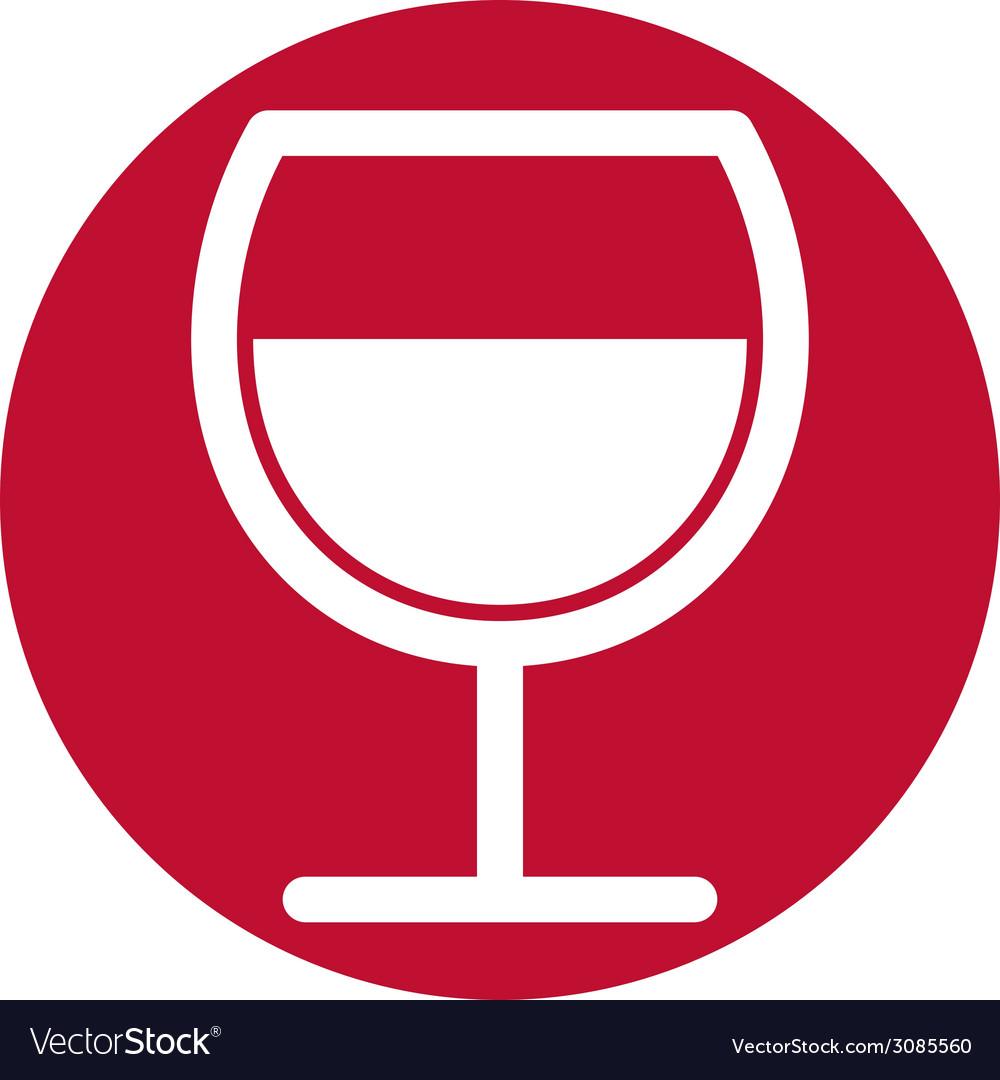 Wine glass simplistic black and white icon vector | Price: 1 Credit (USD $1)