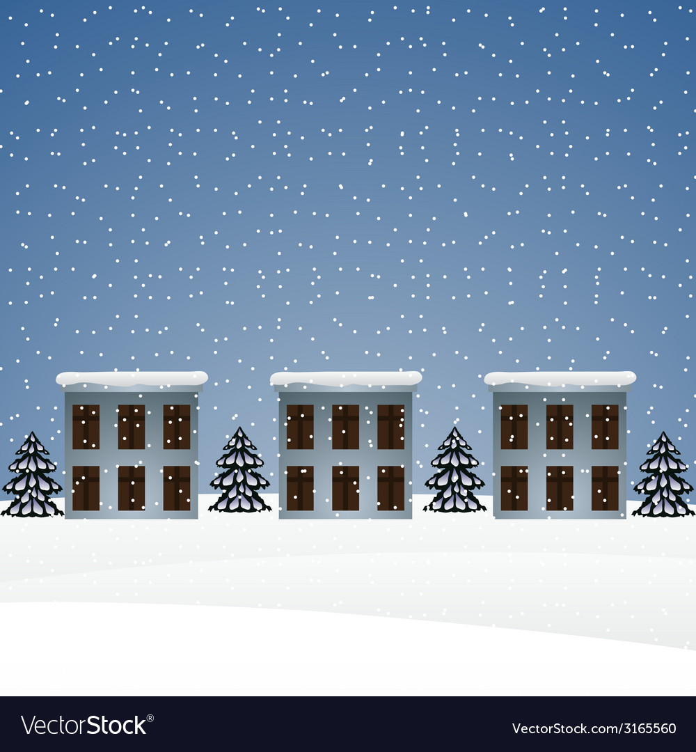 Winter landscape with houses and christmas trees vector | Price: 1 Credit (USD $1)