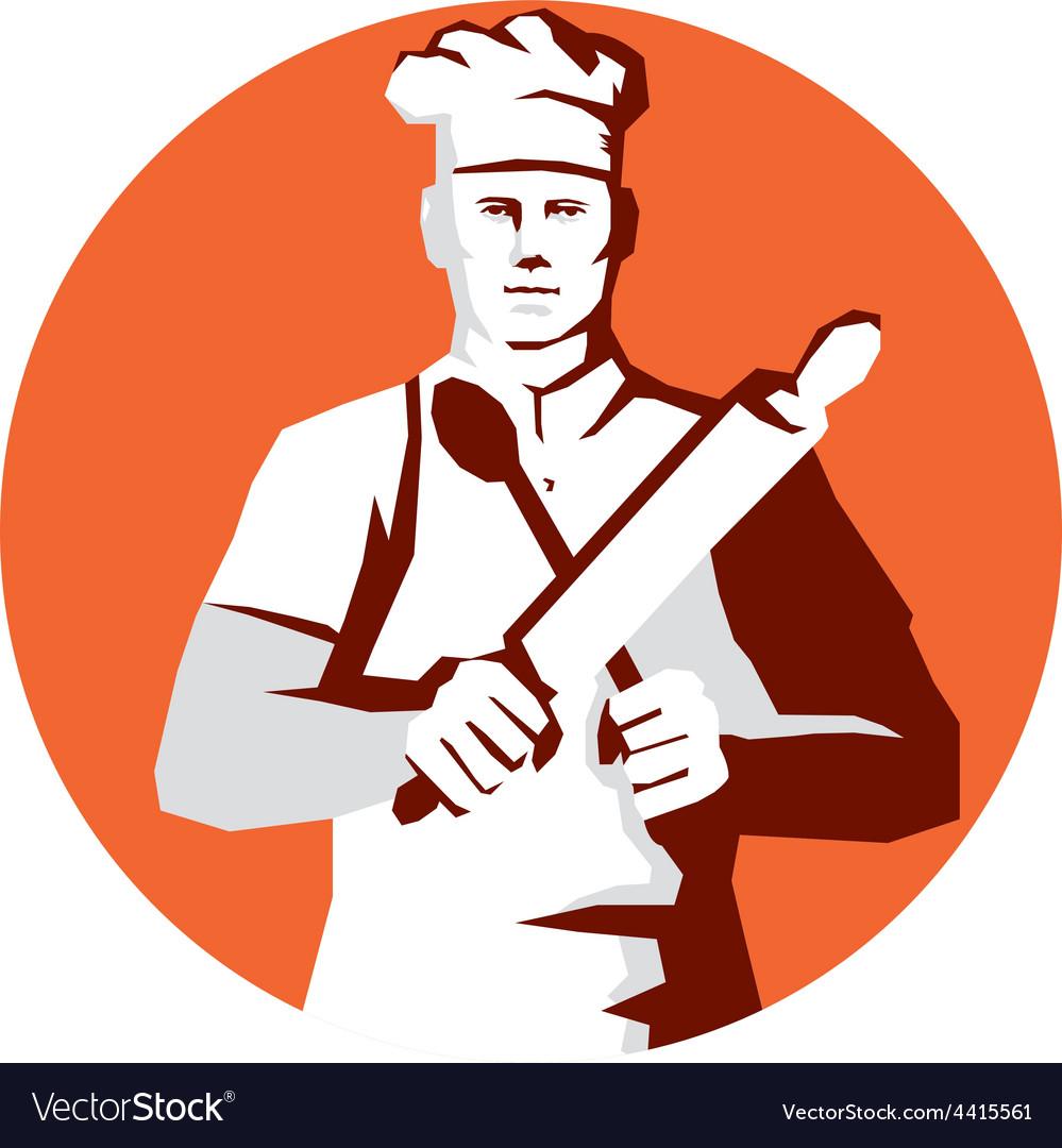 Chef cook rolling pin spatula stencil vector | Price: 1 Credit (USD $1)