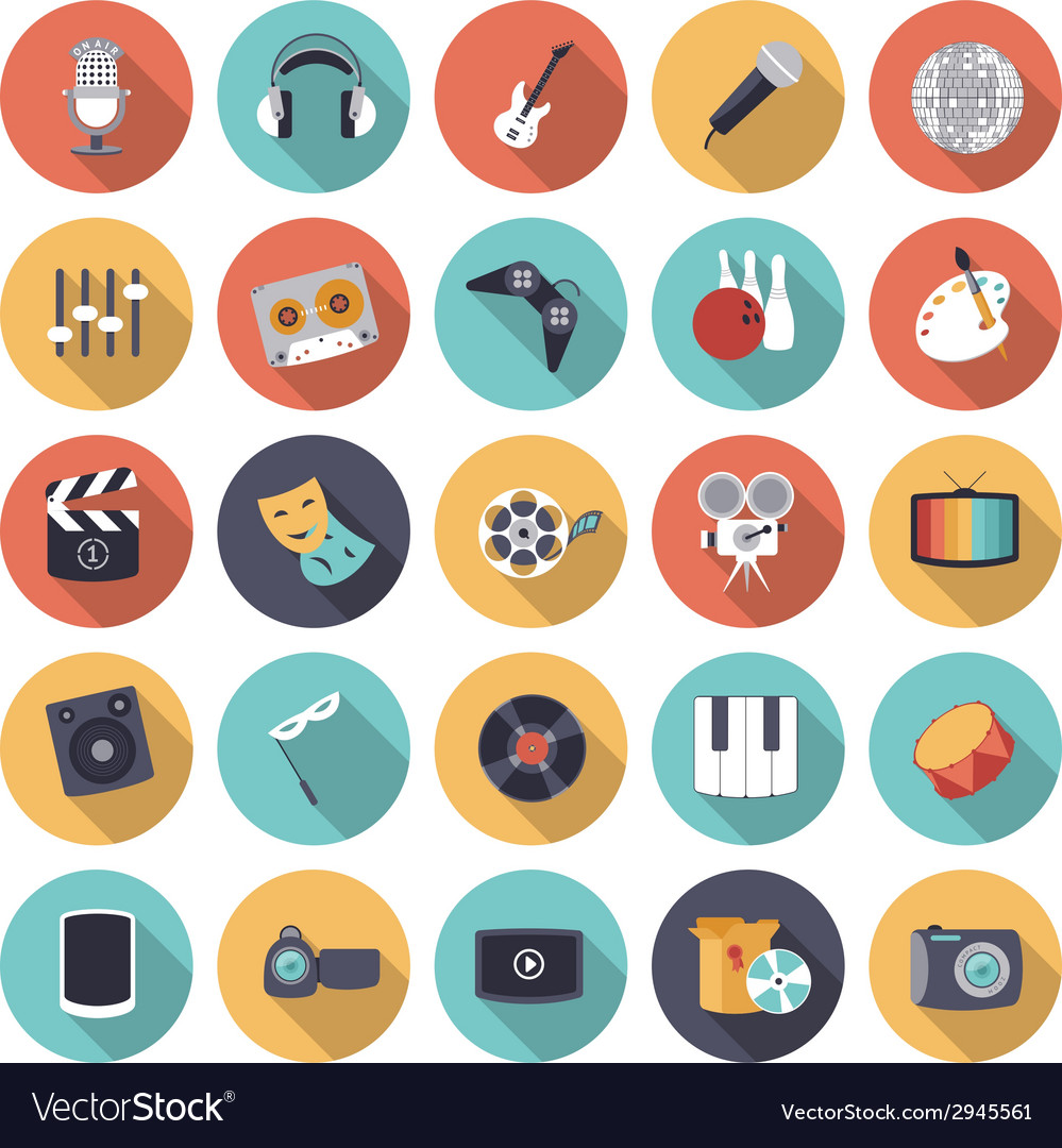 Flat design icons for leisure and entertainment vector | Price: 1 Credit (USD $1)