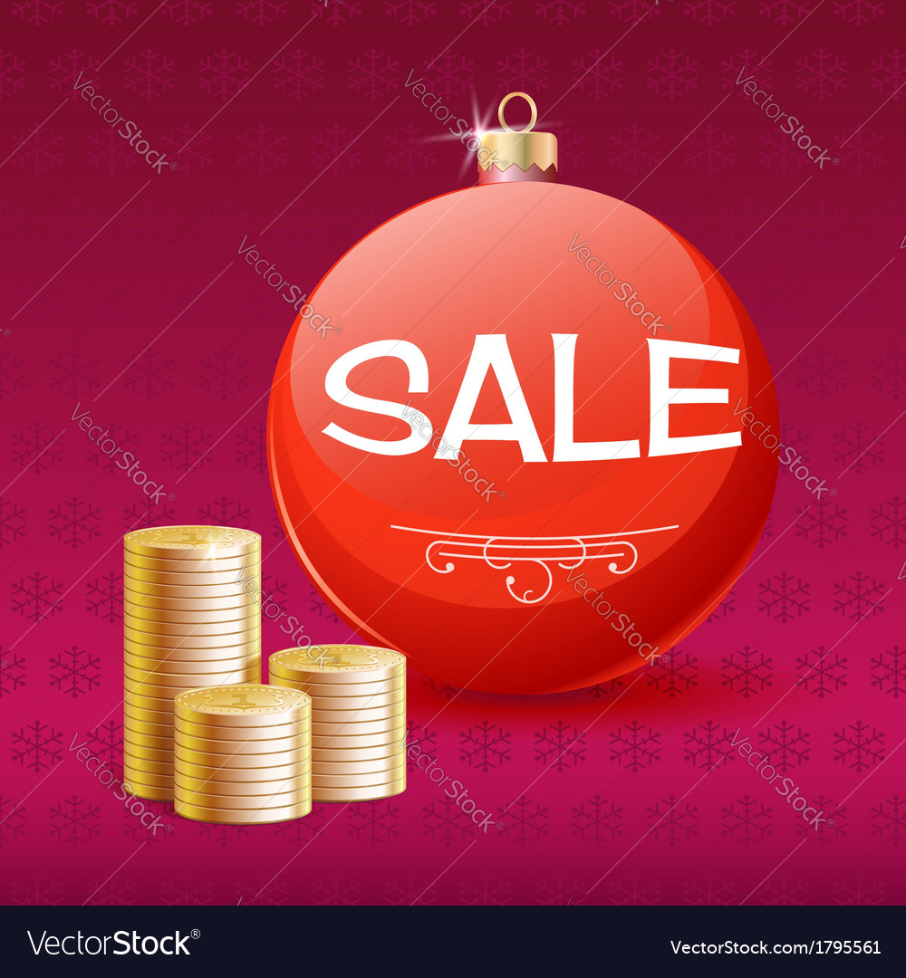 Gold coins and christmas sale ball vector | Price: 1 Credit (USD $1)