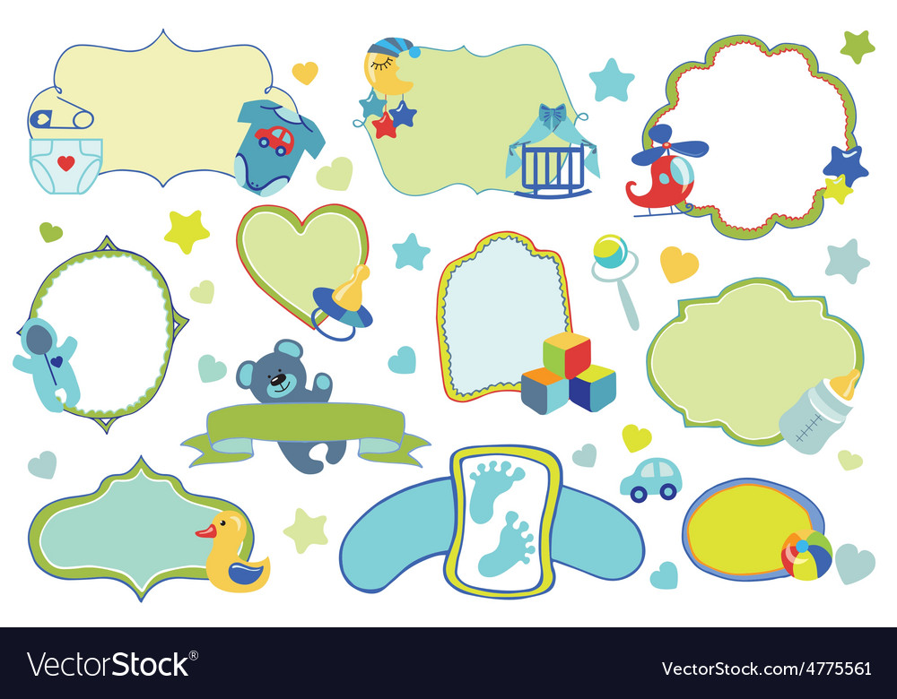 Newborn baby boy badgeslabels setbaby shower vector | Price: 1 Credit (USD $1)