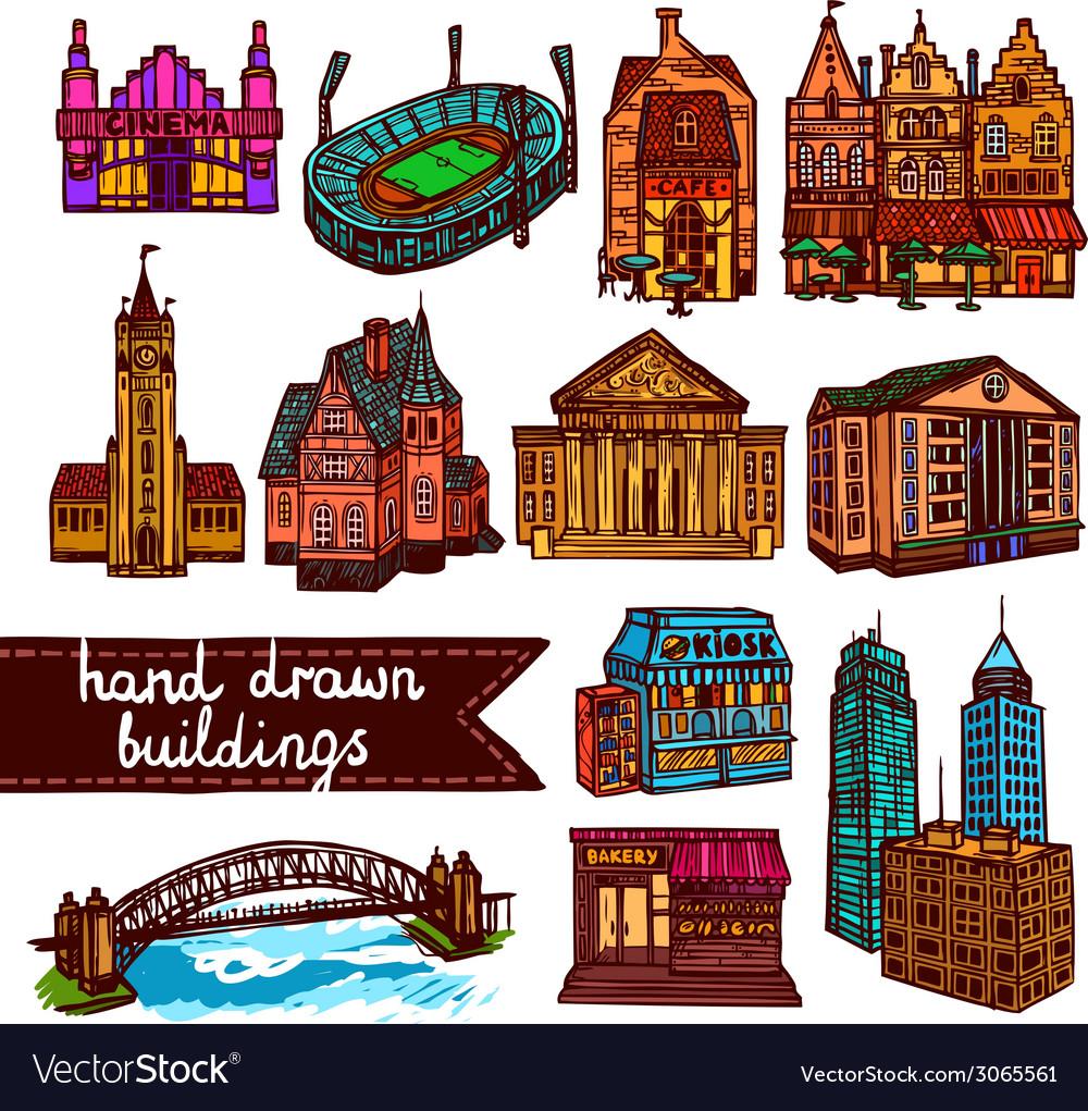 Sketch city building set color vector | Price: 1 Credit (USD $1)