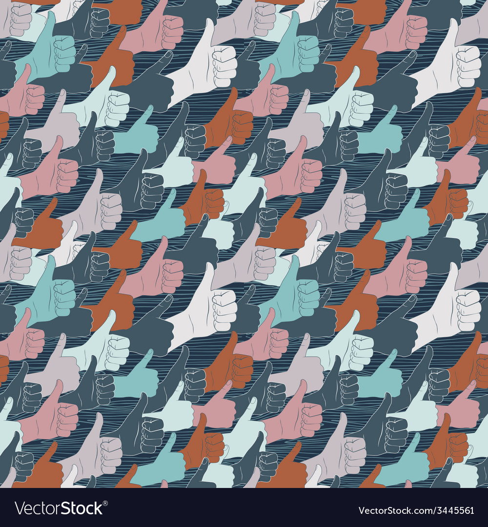 Thumbs up drawn by hands seamless pattern flat vector | Price: 1 Credit (USD $1)