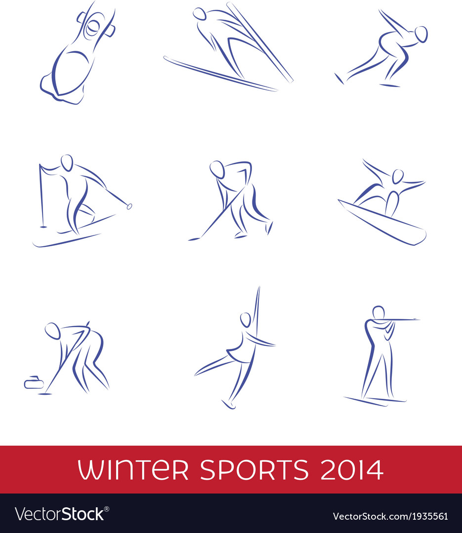 Winter sports icon set vector | Price: 1 Credit (USD $1)