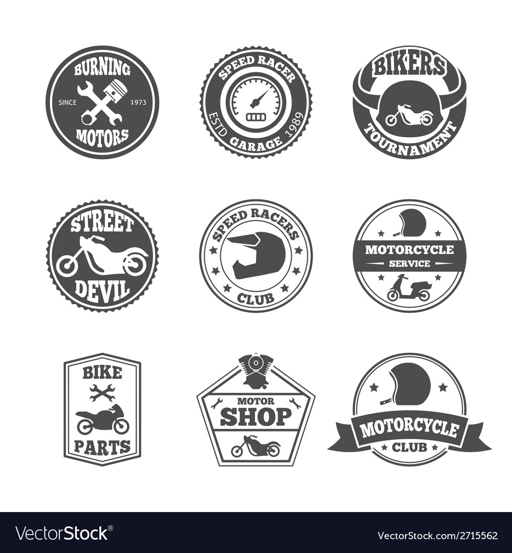 Biker label set vector | Price: 1 Credit (USD $1)