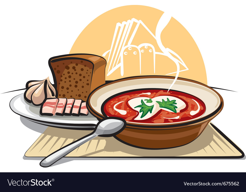 Borscht soup and garlic with ham vector | Price: 3 Credit (USD $3)