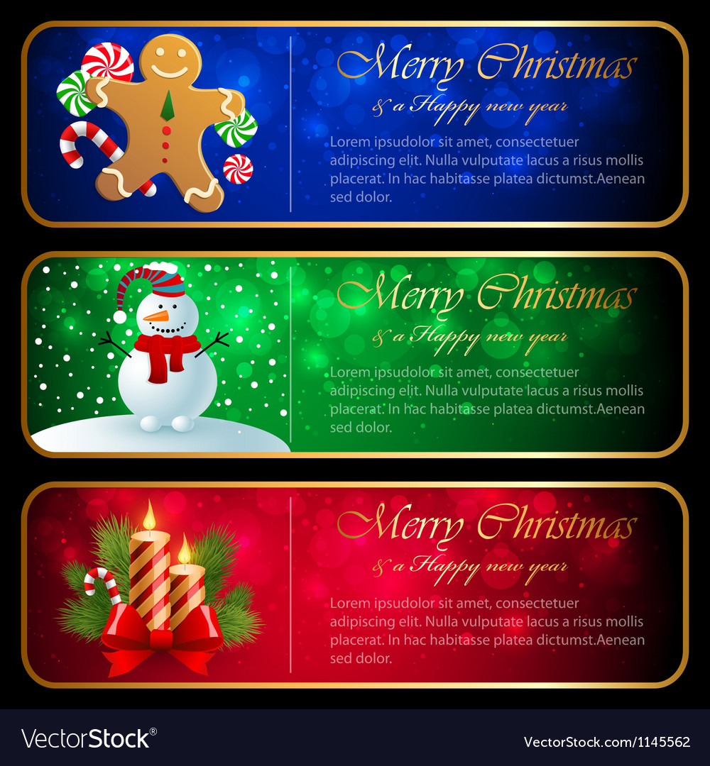 Christmas horizontal banners vector | Price: 1 Credit (USD $1)