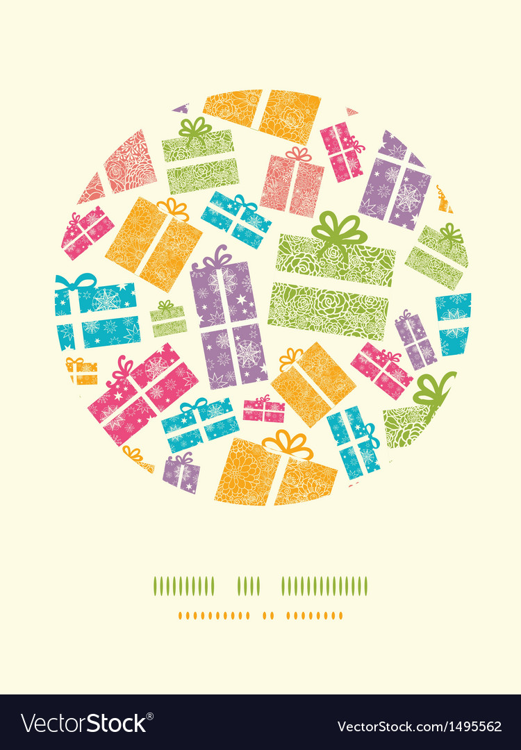 Colorful textured gift boxes circle decor pattern vector   Price: 1 Credit (USD $1)