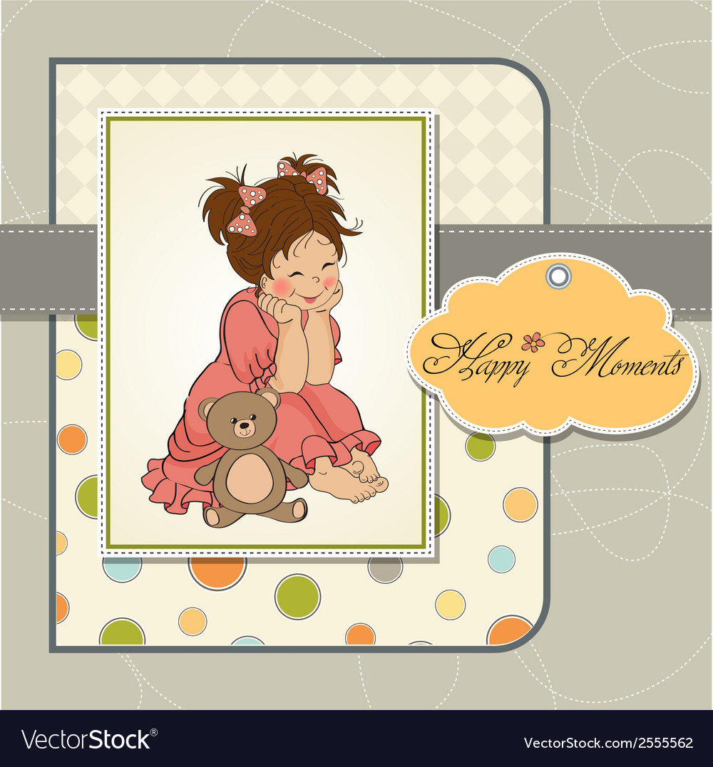Little baby girl play with her teddy bear toy vector | Price: 1 Credit (USD $1)