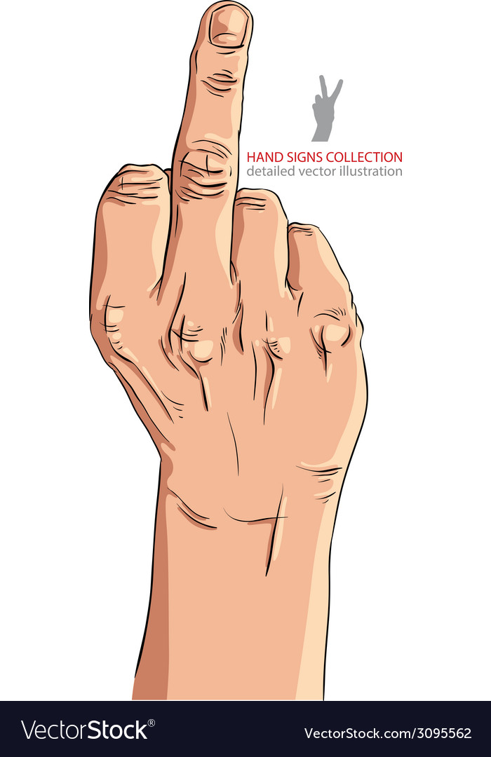 Middle finger hand sign detailed vector | Price: 1 Credit (USD $1)