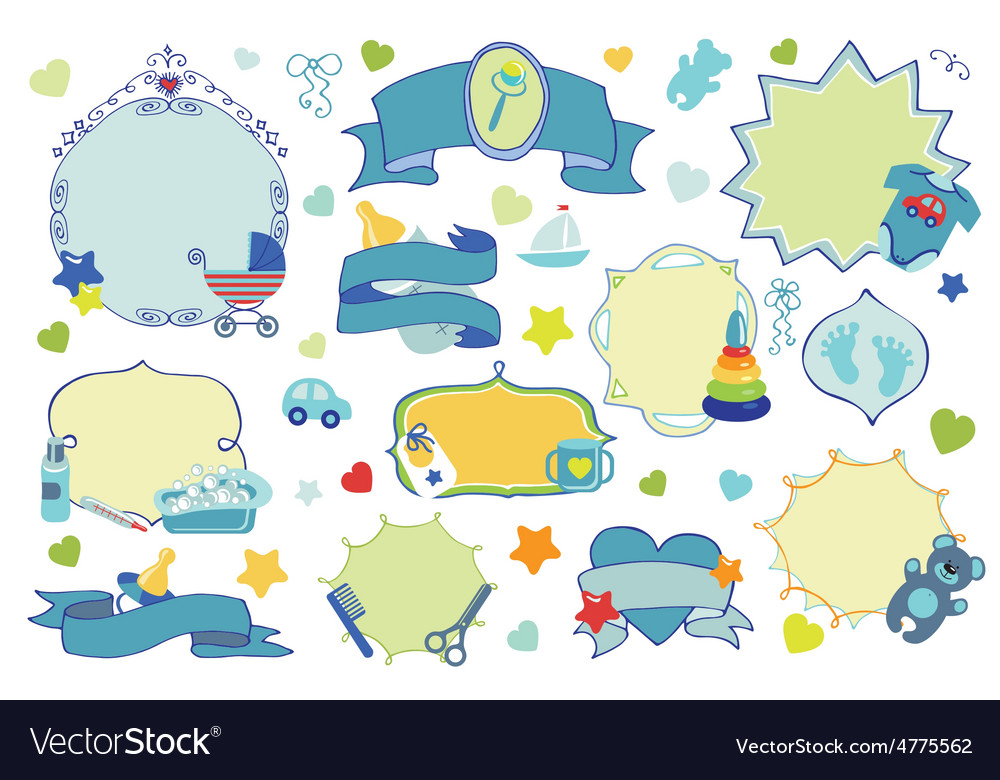 Newborn baby boy badgeslabels set baby shower vector | Price: 1 Credit (USD $1)