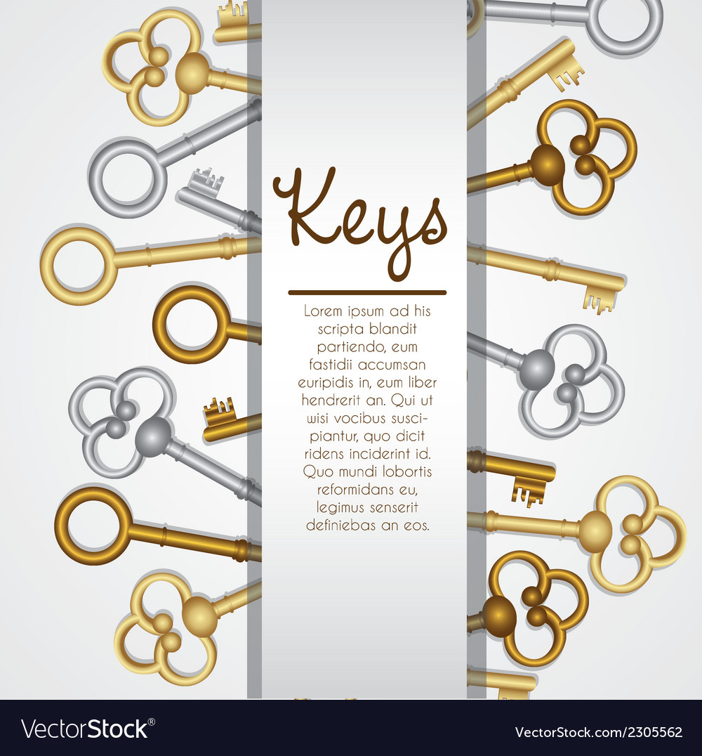 Old keys on white background with space for text vector | Price: 1 Credit (USD $1)