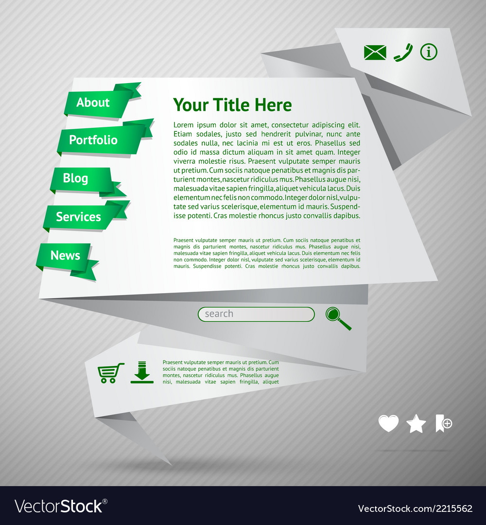 Origami website template vector | Price: 1 Credit (USD $1)