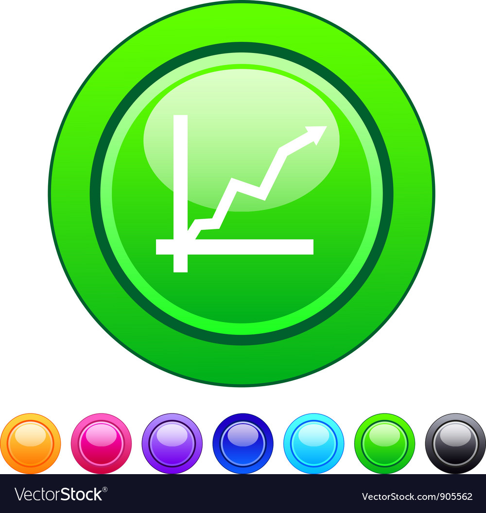 Positive trend circle button vector | Price: 1 Credit (USD $1)