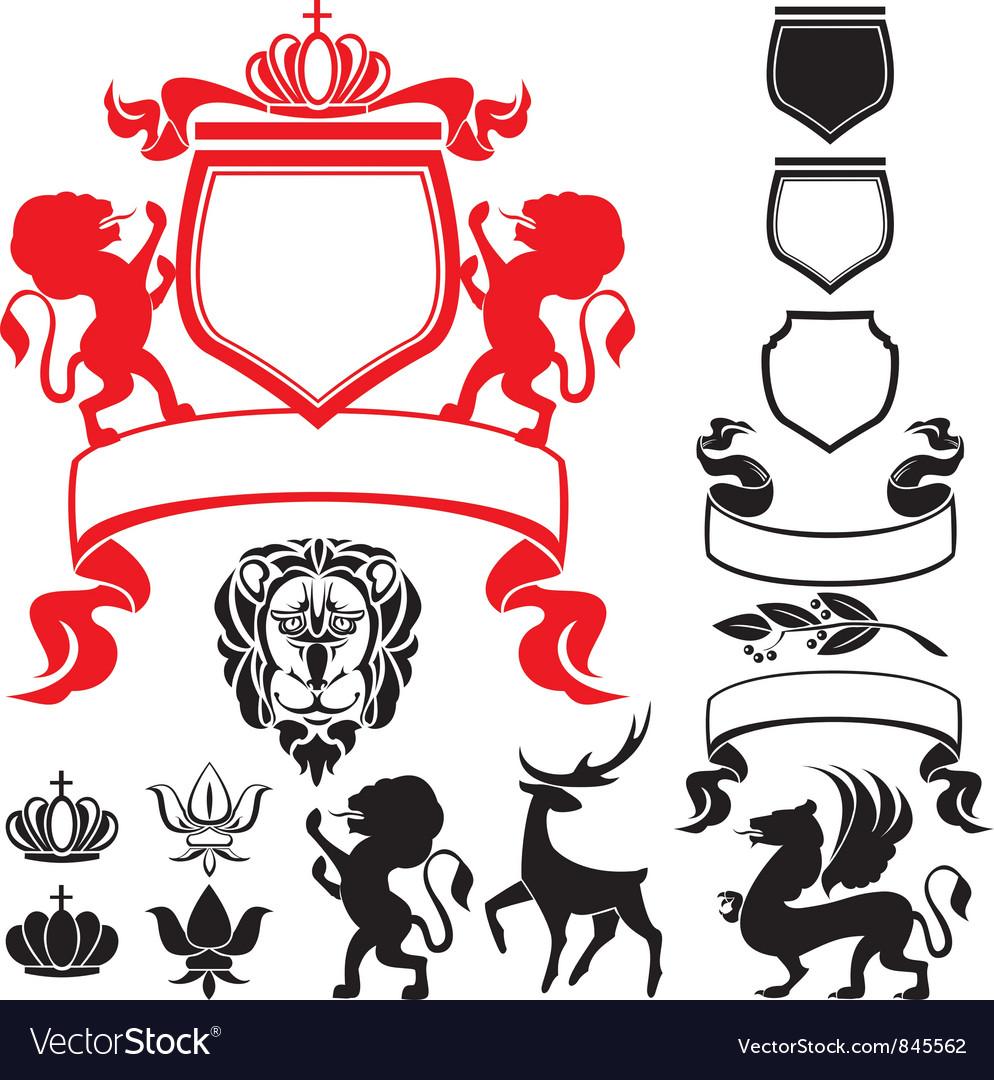 Set of heraldic silhouettes vector | Price: 1 Credit (USD $1)