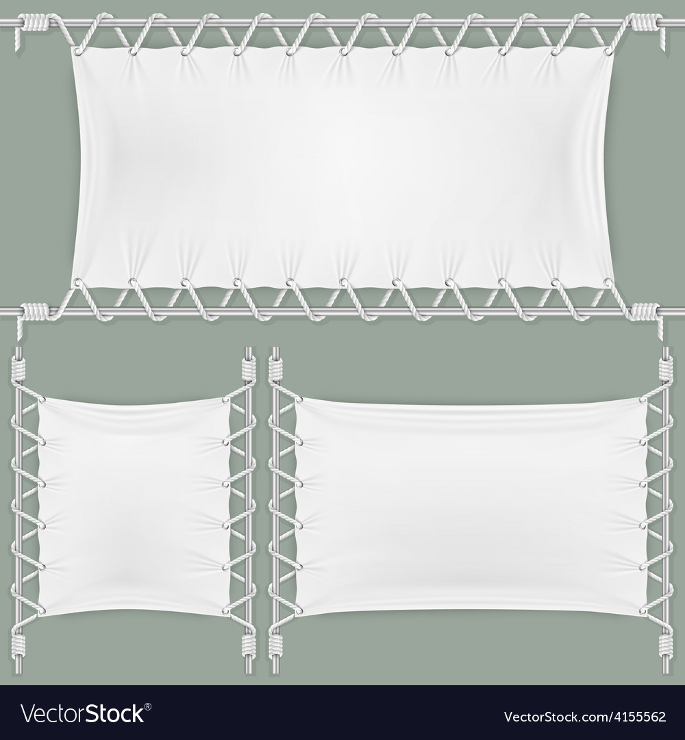 Stretched by ropes textile banners set vector | Price: 1 Credit (USD $1)
