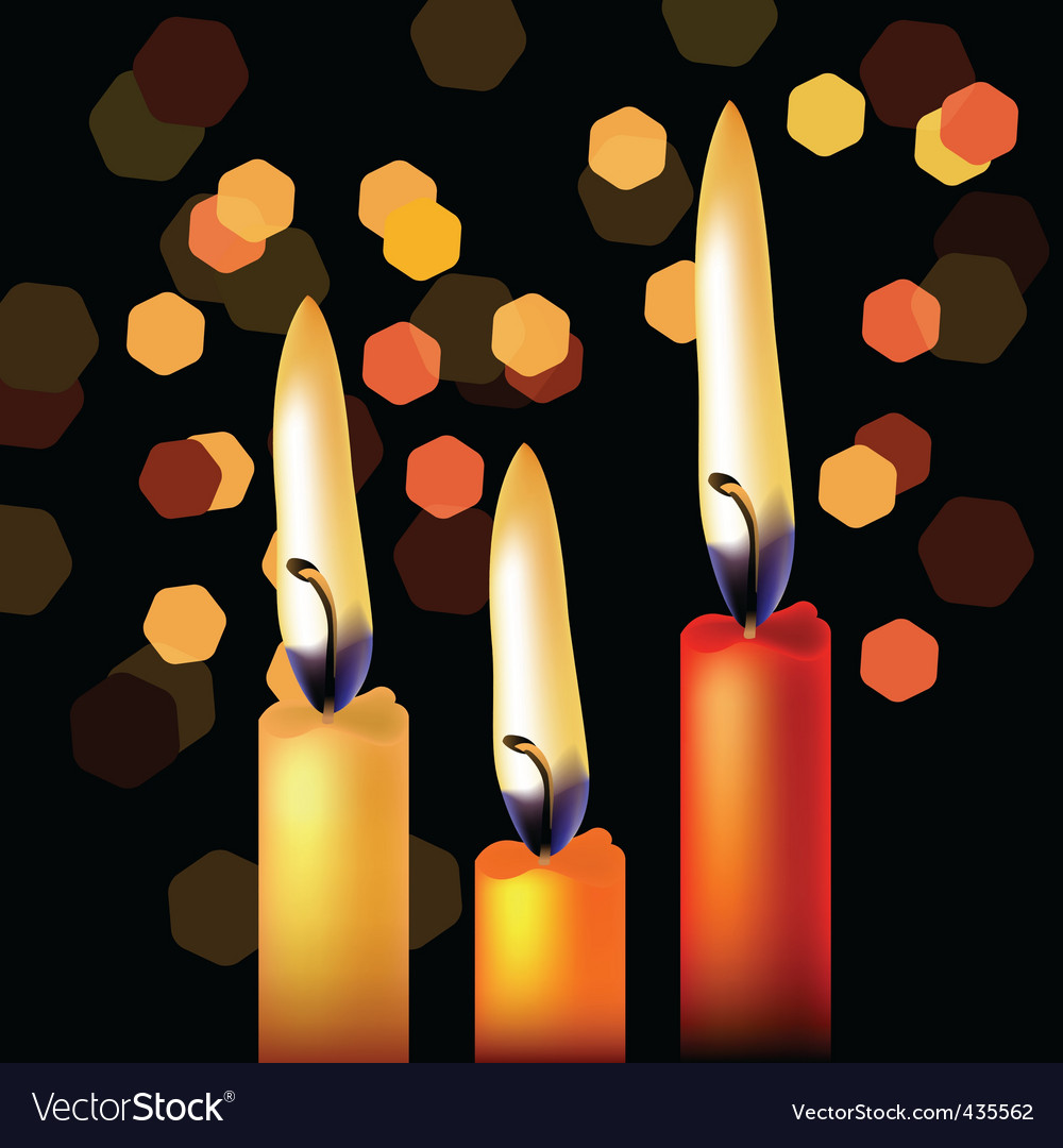 Three festive candles vector | Price: 1 Credit (USD $1)
