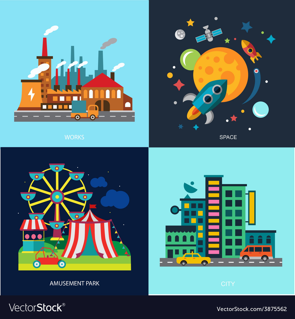 Various cityscapes colored houses amusement park vector | Price: 1 Credit (USD $1)