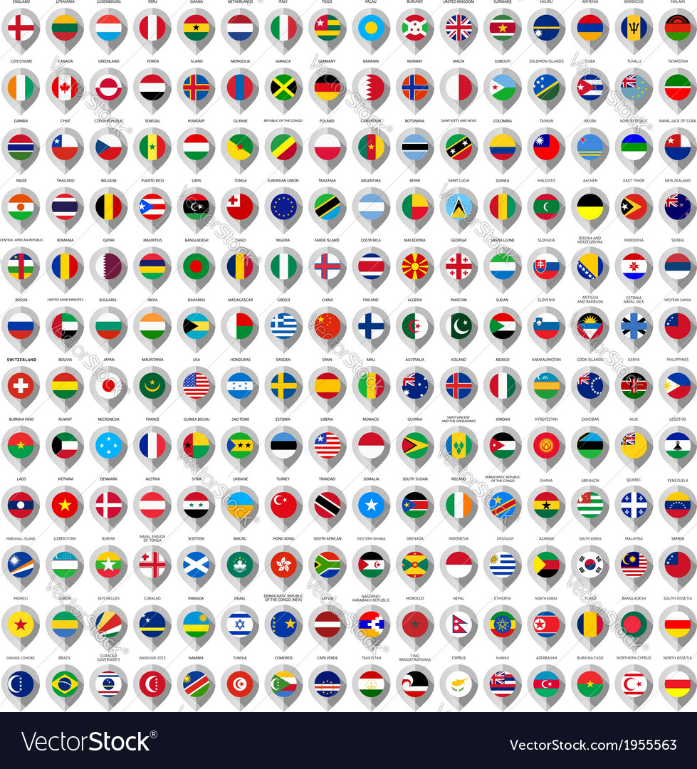 192 markers from paper with flag for map vector
