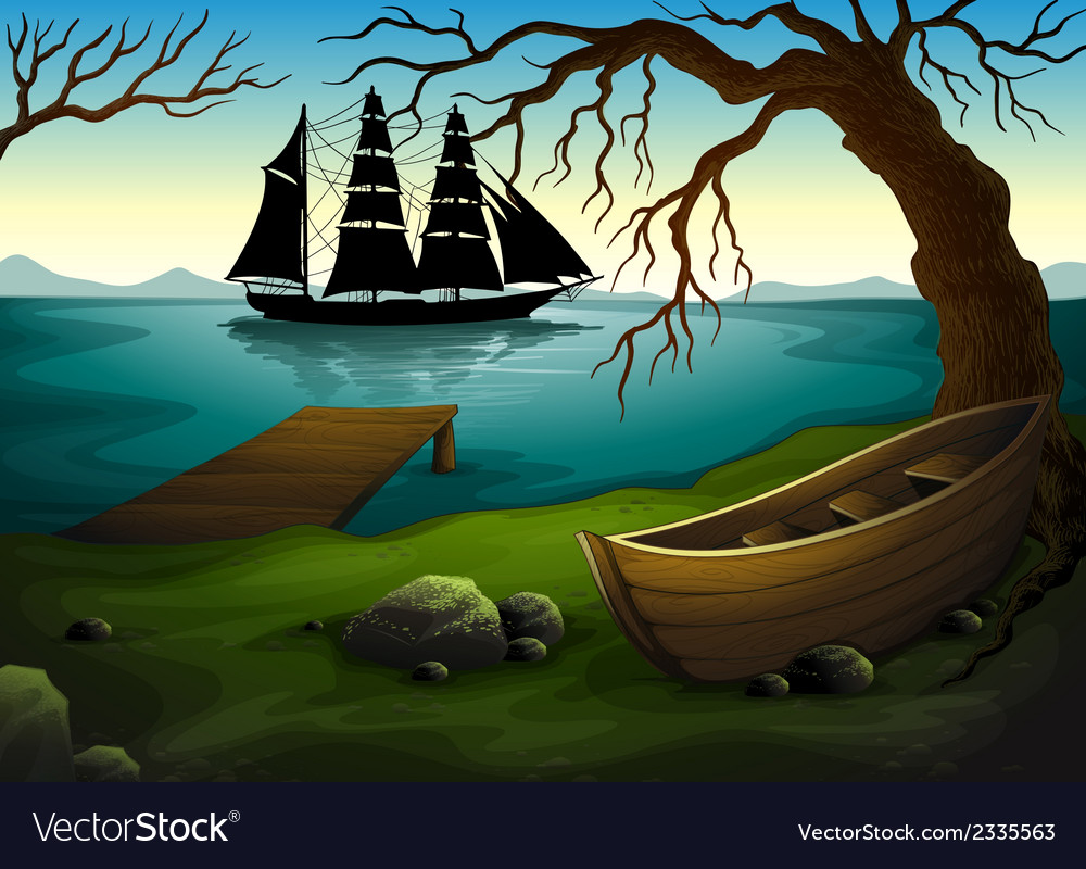 A black ship at the sea across the boat under the vector | Price: 3 Credit (USD $3)