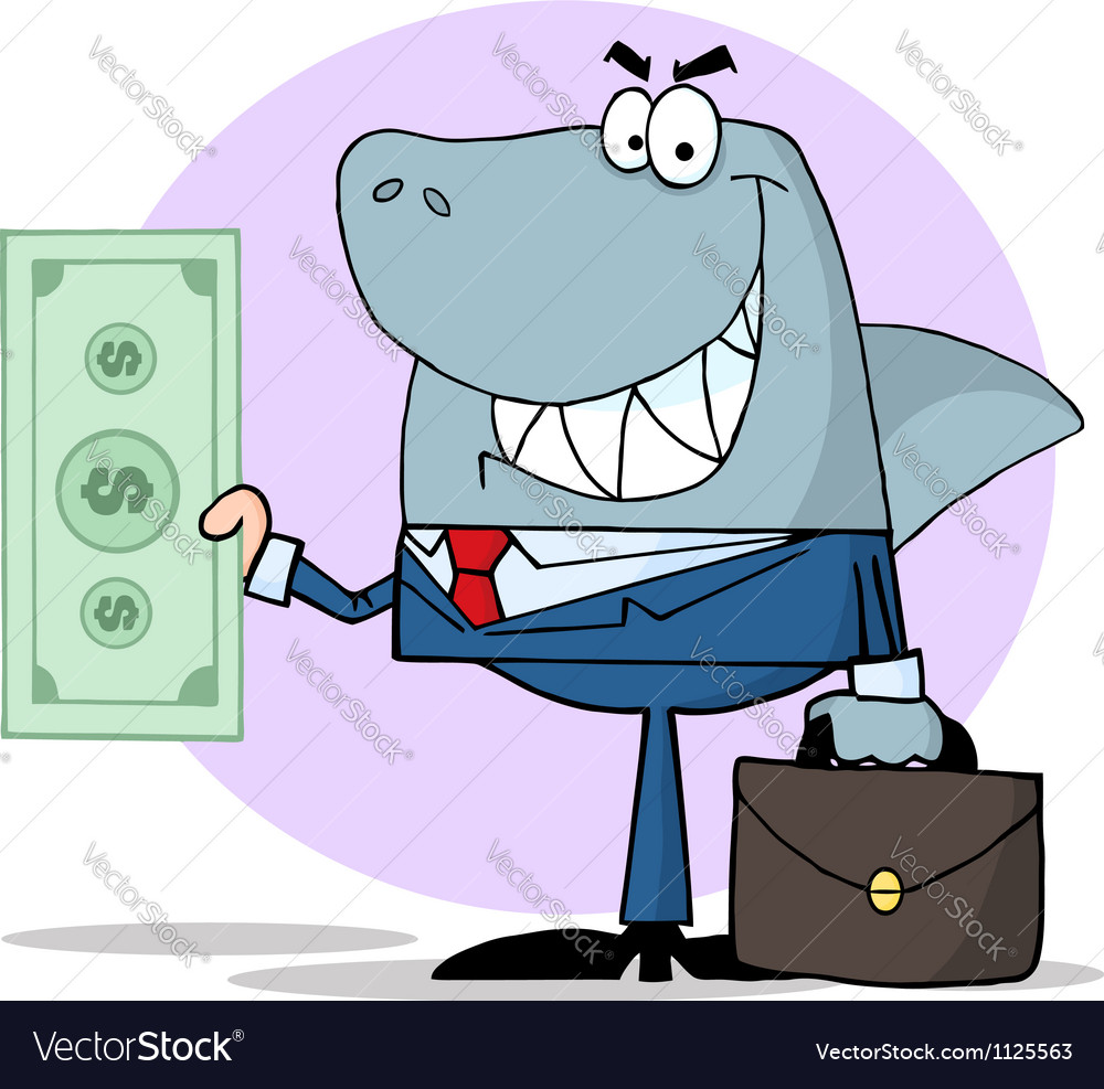 Business shark holding cash vector | Price: 1 Credit (USD $1)