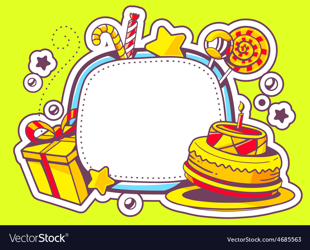 Cake gift and confection with frame on g vector | Price: 3 Credit (USD $3)