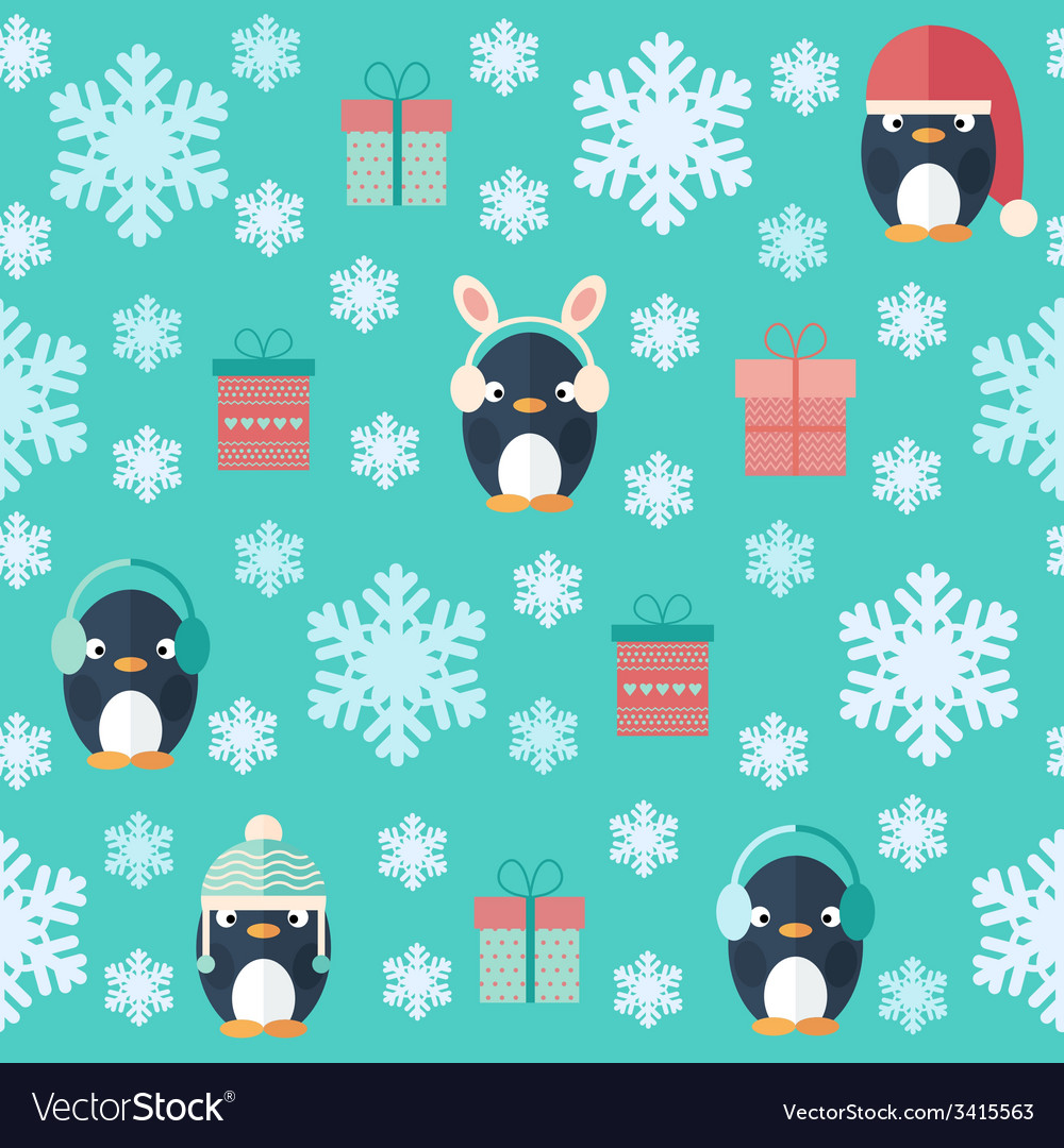 Christmas flat seamless pattern with gifts and vector | Price: 1 Credit (USD $1)