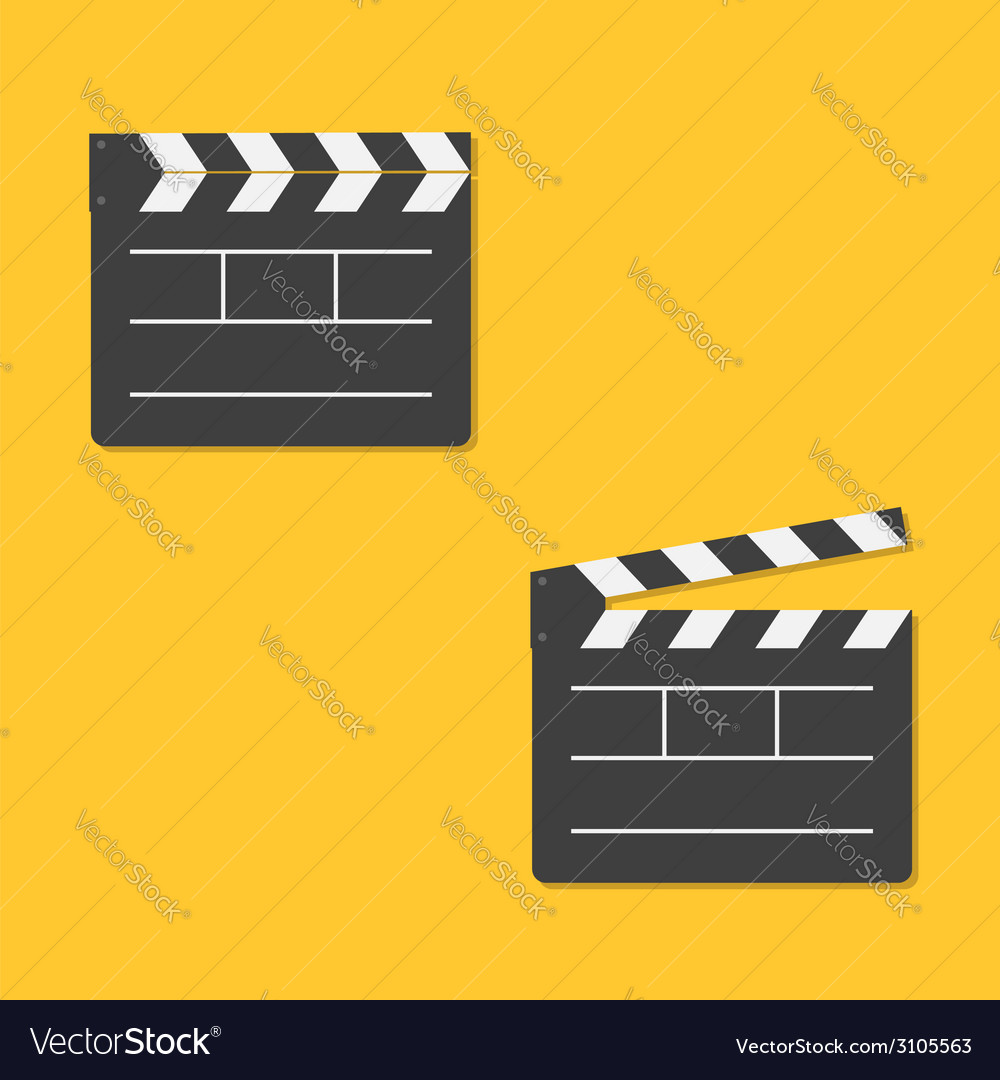 Close and open movie clapper board template icon vector | Price: 1 Credit (USD $1)