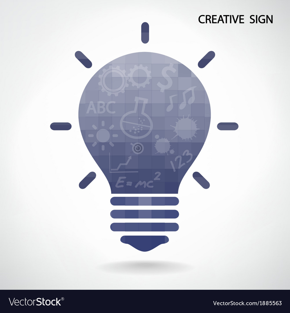 Creative light bulb and brain concept vector | Price: 1 Credit (USD $1)