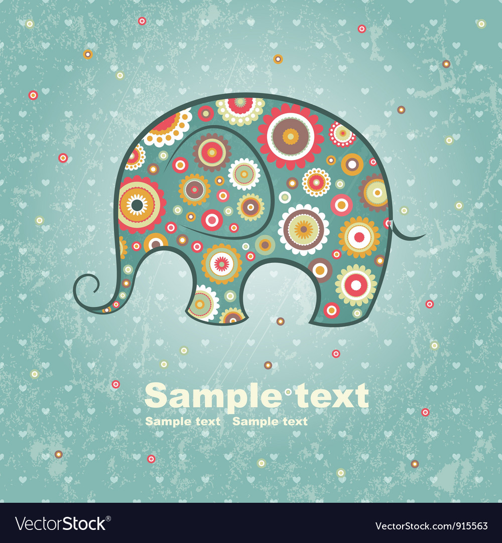 Floral elephant vector | Price: 1 Credit (USD $1)