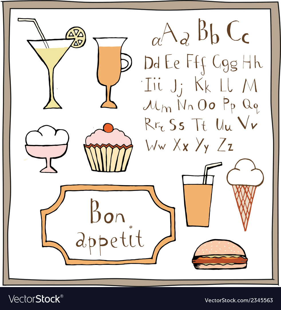 Food drawings and abc set vector | Price: 1 Credit (USD $1)