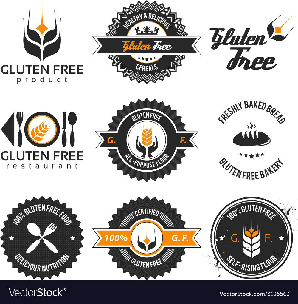 Gluten free label set vector | Price: 1 Credit (USD $1)