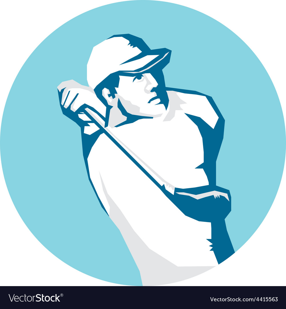 Golfer tee off golf stencil vector | Price: 1 Credit (USD $1)