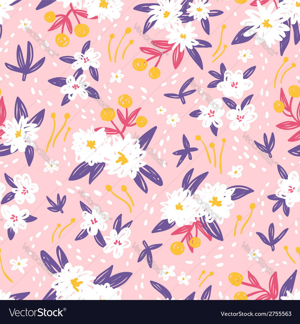 Gorgeous vintage floral seamless pattern vector | Price: 1 Credit (USD $1)