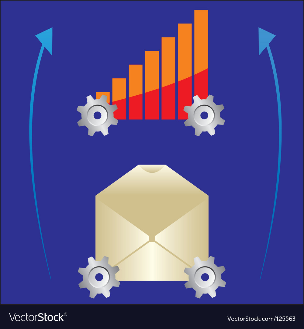 Graph and letter on gear vector | Price: 1 Credit (USD $1)