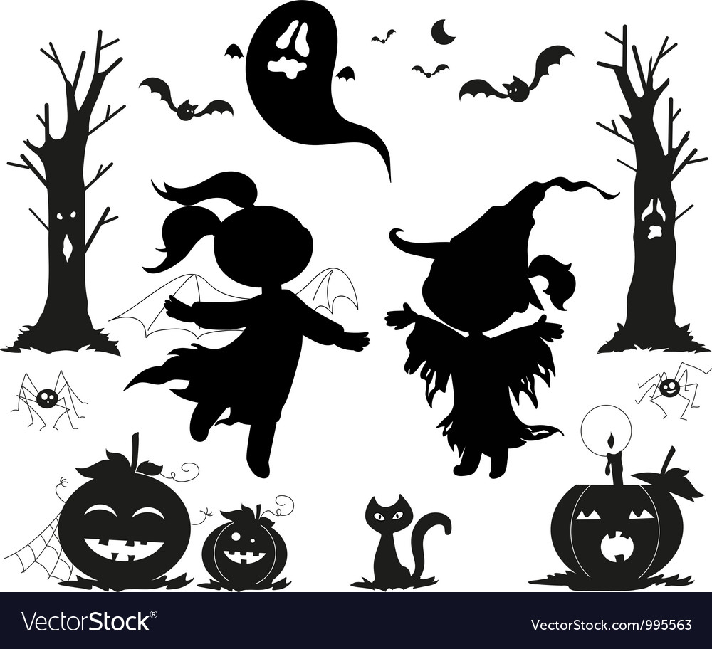 Halloween black icons for kids vector   Price: 1 Credit (USD $1)