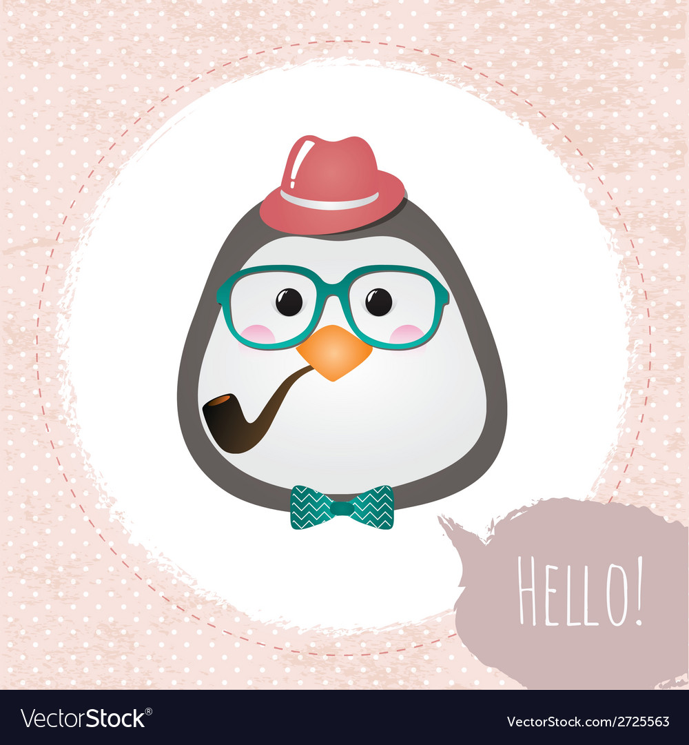 Hipster penguin textured frame design vector | Price: 1 Credit (USD $1)