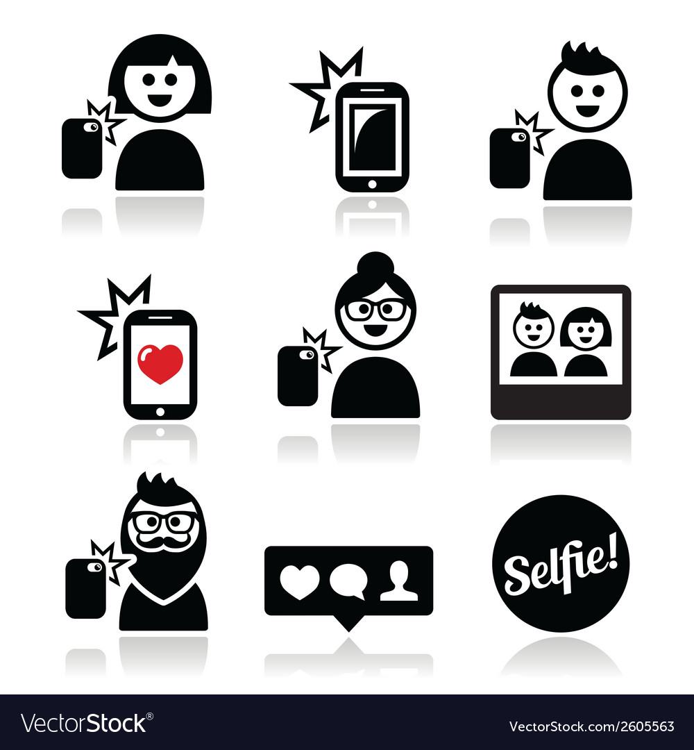 Man woman taking selfie with mobile or cell phone vector | Price: 1 Credit (USD $1)