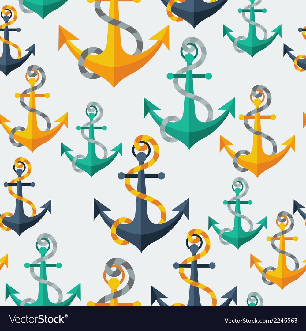 Nautical seamless pattern with anchors and rope vector | Price: 1 Credit (USD $1)