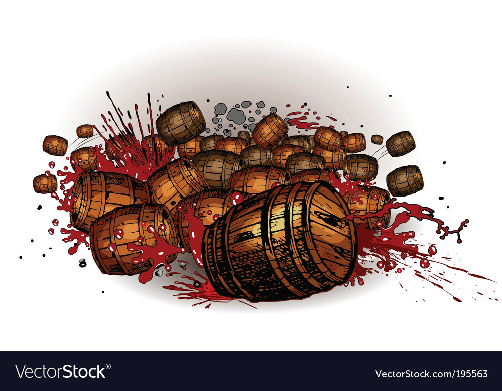 Rolling barrels vector | Price: 1 Credit (USD $1)