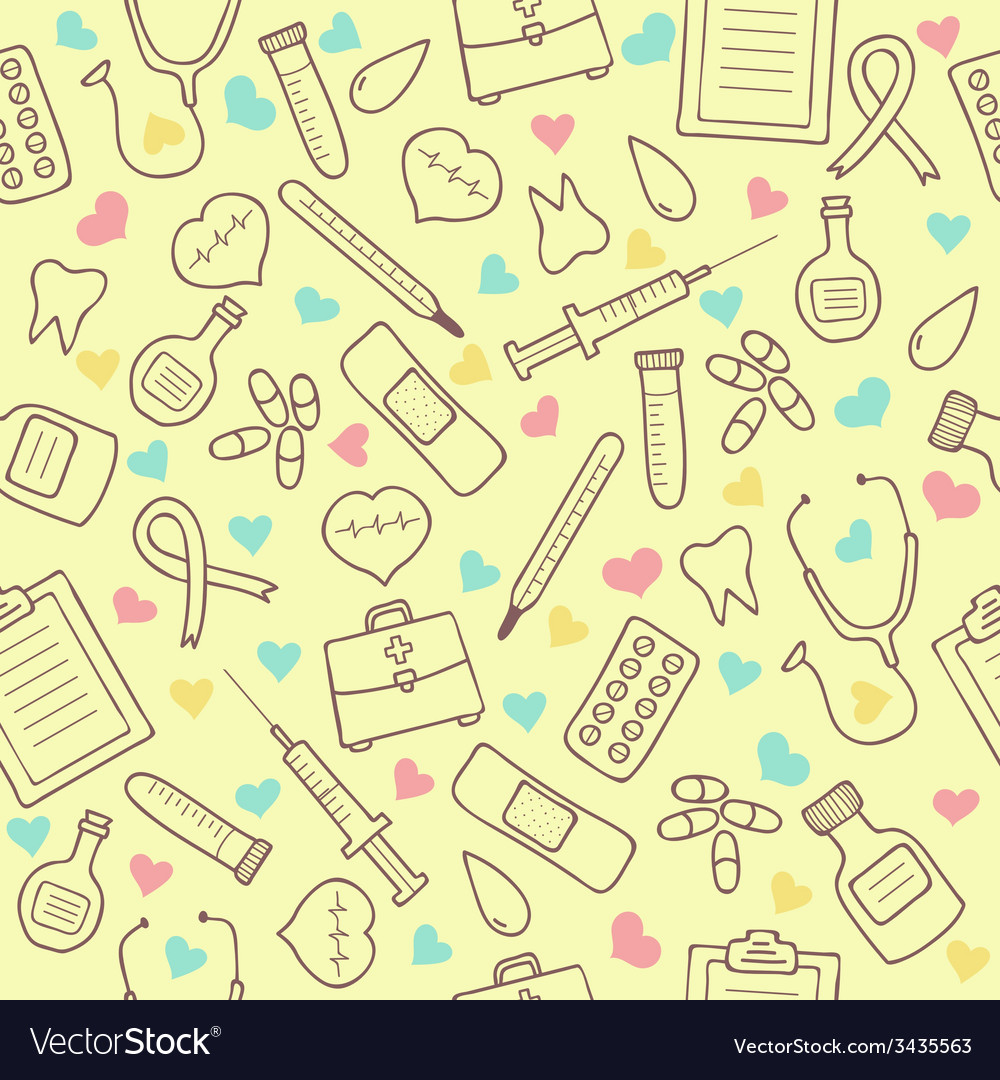 Seamless doodle medical pattern with colored vector | Price: 1 Credit (USD $1)