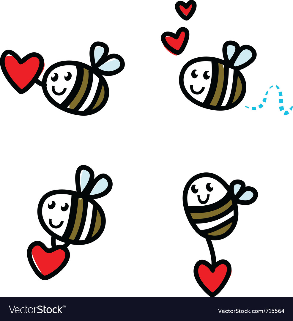 Cute flying bee doodle vector | Price: 1 Credit (USD $1)