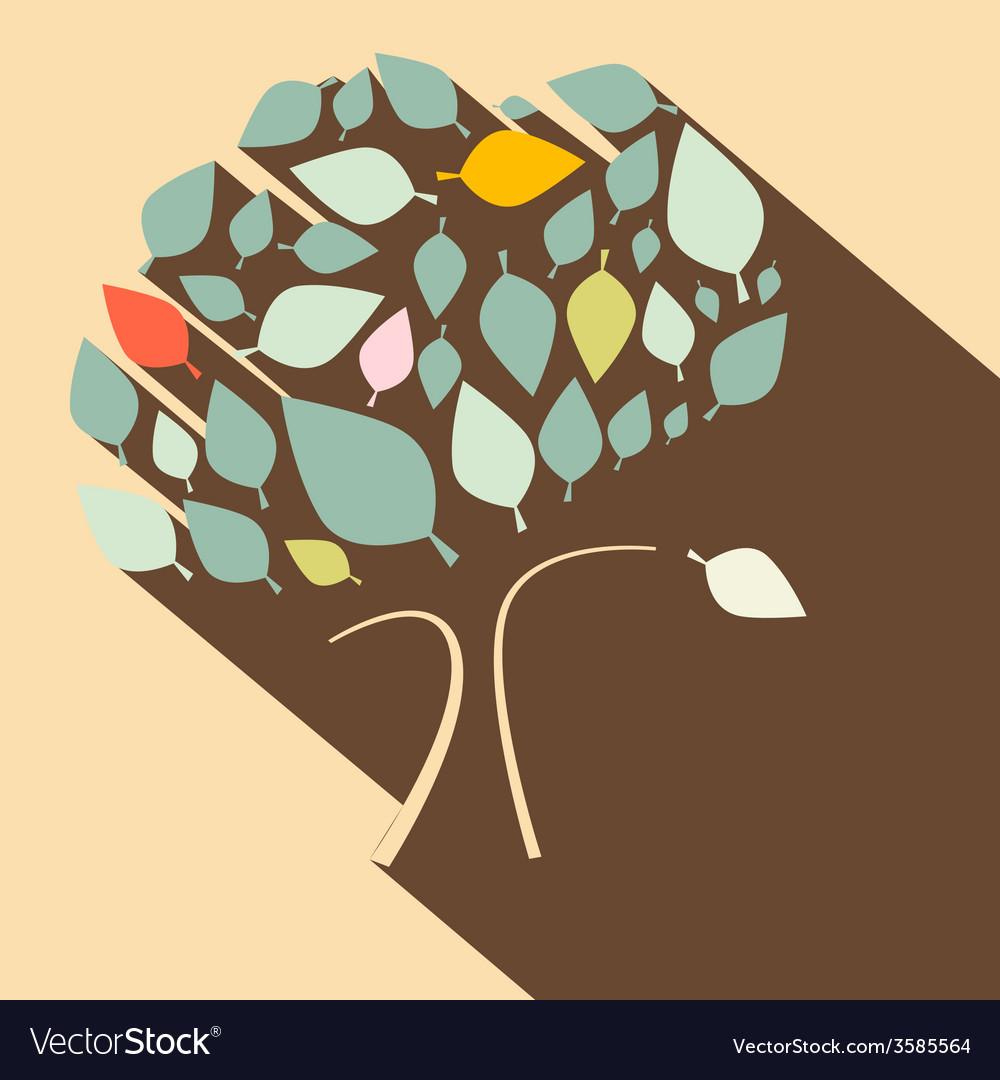 Flat design retro tree vector | Price: 1 Credit (USD $1)