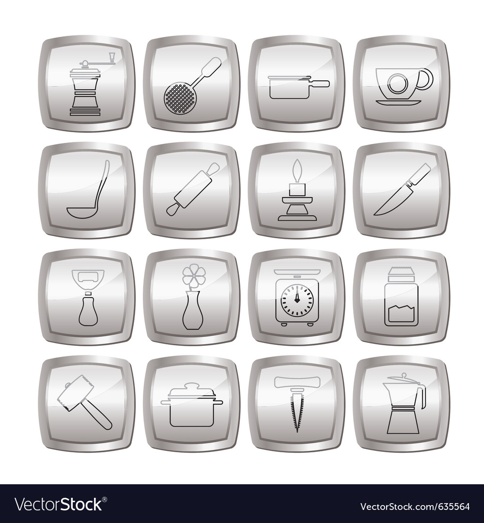 Kitchen and household tools icons vector | Price: 1 Credit (USD $1)